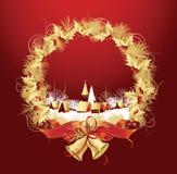 De decoratie van Kerstmis met een stad in rode kleur. Stock Foto