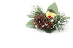 De decoratie van Kerstmis met een vogel royalty-vrije stock afbeeldingen