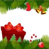 De decoratie van Kerstmis met gift Stock Foto