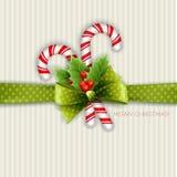 De decoratie van Kerstmis met hulstbladeren Stock Fotografie