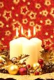 De decoratie van Kerstmis met kaarsen Stock Afbeelding