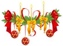 De decoratie van Kerstmis met kaarsen en bogen Stock Foto