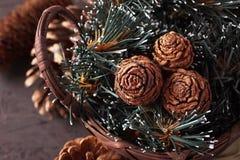 De decoratie van Kerstmis met kegels Stock Fotografie