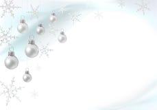 De decoratie van Kerstmis met zilveren snuisterijen Stock Foto's