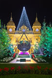 De decoratie van Kerstmis in Monaco, Monte Carlo, Frankrijk royalty-vrije stock fotografie
