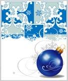 De decoratie van Kerstmis op blauwe achtergrond Royalty-vrije Stock Afbeelding