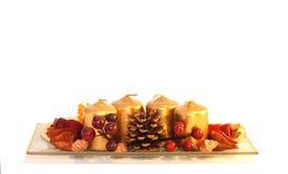 De decoratie van Kerstmis op de (geïsoleerdei) lijst stock afbeelding