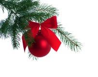 De Decoratie van Kerstmis op de Tak van de Boom Stock Foto