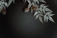 De decoratie van Kerstmis op een zwarte achtergrond Stock Foto's