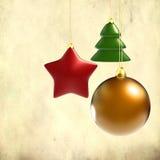 De decoratie van Kerstmis op grungeachtergrond Stock Foto's