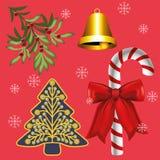 De Decoratie van Kerstmis op rode achtergrond stock illustratie