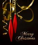 De decoratie van Kerstmis op zwarte Stock Foto