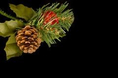 De decoratie van Kerstmis op zwarte Stock Foto's