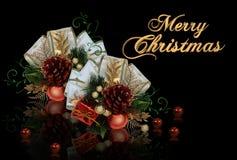 De decoratie van Kerstmis op zwarte achtergrond vector illustratie