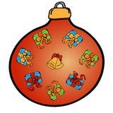 De decoratie van Kerstmis Rode bal met gekleurde pictogrammen Royalty-vrije Stock Foto's