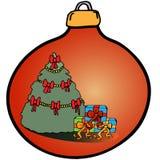 De decoratie van Kerstmis Rode bal met gekleurde pictogrammen Stock Afbeeldingen