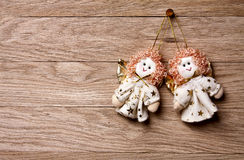 De decoratie van Kerstmis - Twee engelen Royalty-vrije Stock Fotografie
