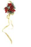 De decoratie van Kerstmis van poinsettia met gouden lint Stock Foto