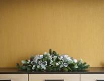 De decoratie van de Kerstmisspar met sparappel en ballen Royalty-vrije Stock Fotografie