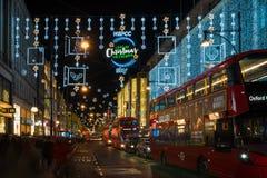 De decoratie van de Kerstmisstraat op de Straat van Oxford in centraal Londen, Stock Foto's