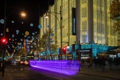 De decoratie van de Kerstmisstraat op de Straat van Oxford in centraal Londen, Stock Foto