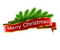 De decoratie van de Kerstmisvakantie met rood lint royalty-vrije illustratie