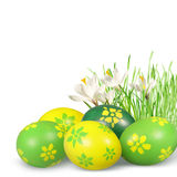 De decoratie van Pasen met Paaseieren. Royalty-vrije Stock Afbeeldingen