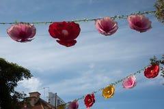De decoratie van pioenlantaarns in chinatown Stock Afbeelding