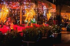 De decoratie van restaurantkerstmis Stock Foto