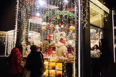 De Decoratie van de de wintervakantie van Kerstmismarkt dichtbij Rood Vierkant, Moskou, Rusland royalty-vrije stock afbeelding