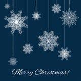 De decoratieachtergrond van Kerstmissneeuwvlokken Royalty-vrije Stock Afbeeldingen