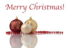 De decoratieballen van Kerstmis met parels royalty-vrije stock foto