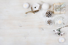 De decoratieconcept van de Kerstmistijd De achtergrond van de de wintervakantie stock foto