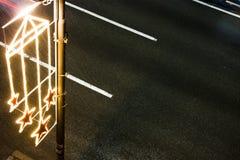 De decoratielicht van de Kerstmisstraat Stock Foto's