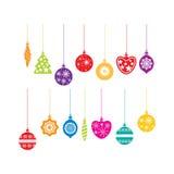 De decoratiepictogrammen van Kerstmis Stock Foto's