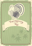 De decoratieprentbriefkaar van de dankzegging. Wijnoogst Royalty-vrije Stock Foto's