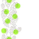 De decoratieve achtergrond van de voorraadillustratie met eiken bladeren stock afbeeldingen