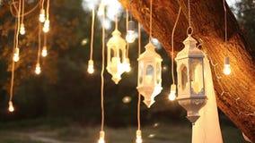 De decoratieve antieke van de de stijlgloeidraad van Edison gloeilampen die in het hout, glaslantaarn, de tuin van de lampdecorat stock videobeelden