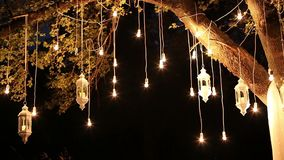 De decoratieve antieke van de de stijlgloeidraad van Edison gloeilampen die in het hout, glaslantaarn, de tuin van de lampdecorat stock footage