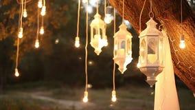 De decoratieve antieke van de de stijlgloeidraad van Edison gloeilampen die in het hout, glaslantaarn, de tuin van de lampdecorat stock video