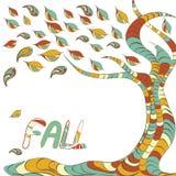 De decoratieve dalings coloful boom met de herfst doorbladert Stock Foto's