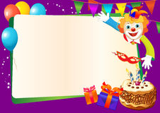 De decoratieve grens van de verjaardag met cake Stock Fotografie