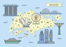 De decoratieve kaart van Singapore in vlakke lijnstijl stock fotografie