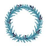 De decoratieve kroon van waterverfkerstmis met spar en bessen vector illustratie