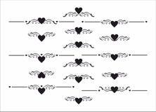 De decoratieve reeks van het de separatorelement van de hartafbakening Royalty-vrije Stock Afbeelding