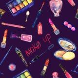 De decoratieve schoonheidsmiddelen, maken omhoog materiaalinzameling in heldere kleuren, hand geschilderde waterverfillustratie,  Stock Foto