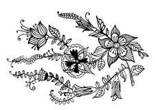 De decoratieve slinger van bloemen inkt grafische illustratie royalty-vrije illustratie