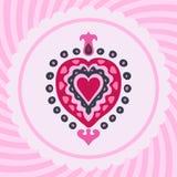 De decoratieve uitnodiging van het valentijnskaartenhart  Stock Afbeeldingen