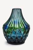 De DECORATIEVE unieke vazen van de glasbloem tijdgenoot in duidelijk en ondoorzichtig een geheel kleurenspectrum stock foto's