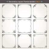 De decoratieve vierkante kaders en de grenzen plaatsen vector 7 Royalty-vrije Stock Afbeeldingen